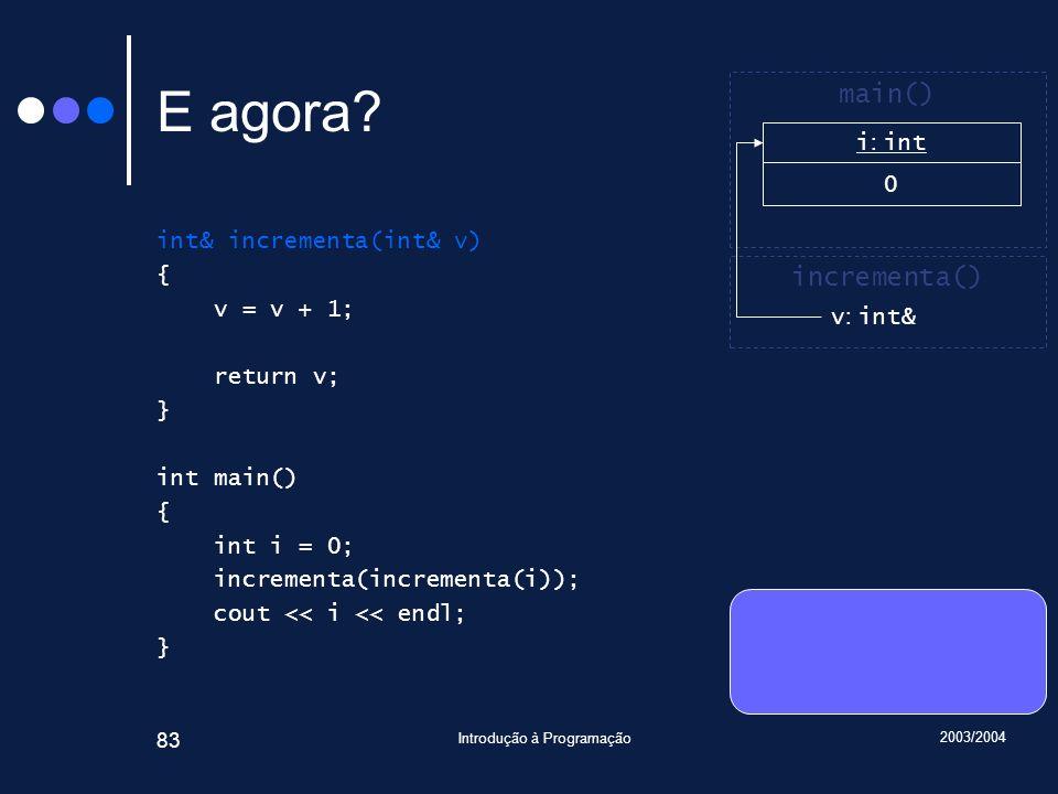 2003/2004 Introdução à Programação 83 E agora.
