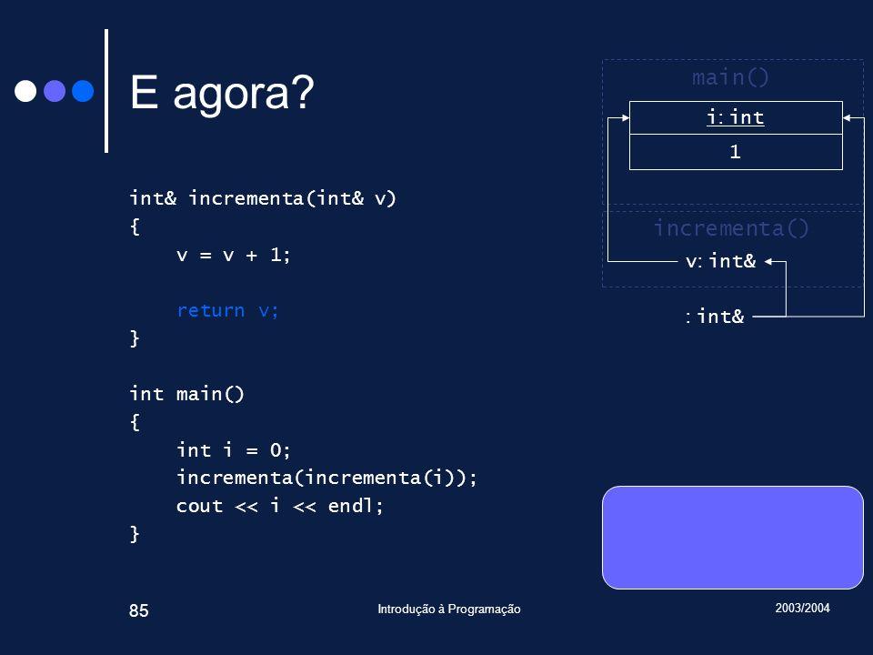 2003/2004 Introdução à Programação 85 E agora.