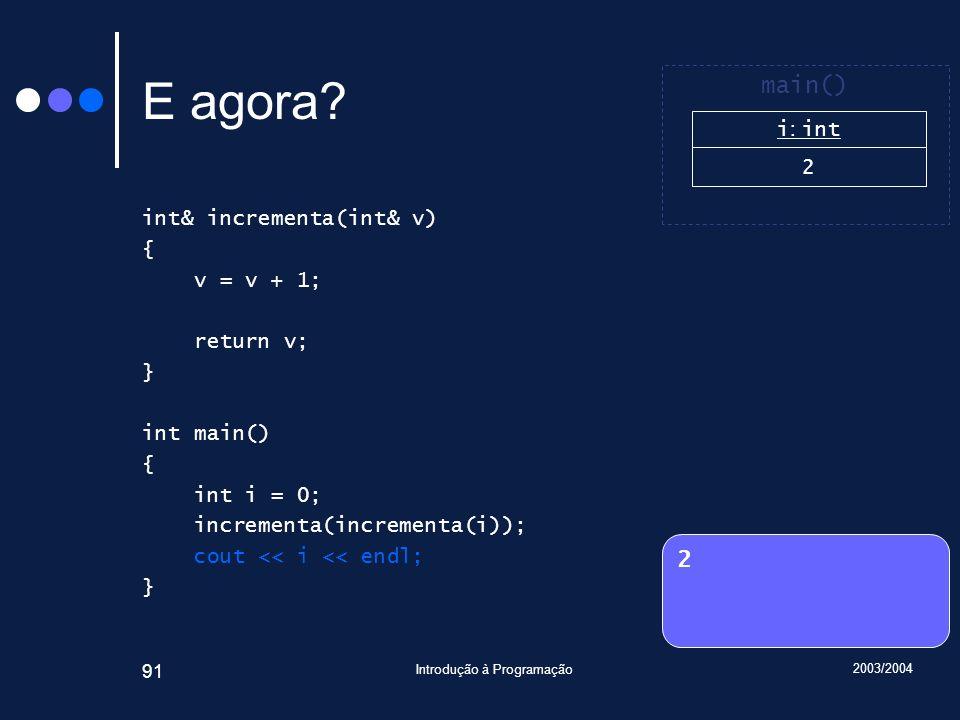 2003/2004 Introdução à Programação 91 E agora.