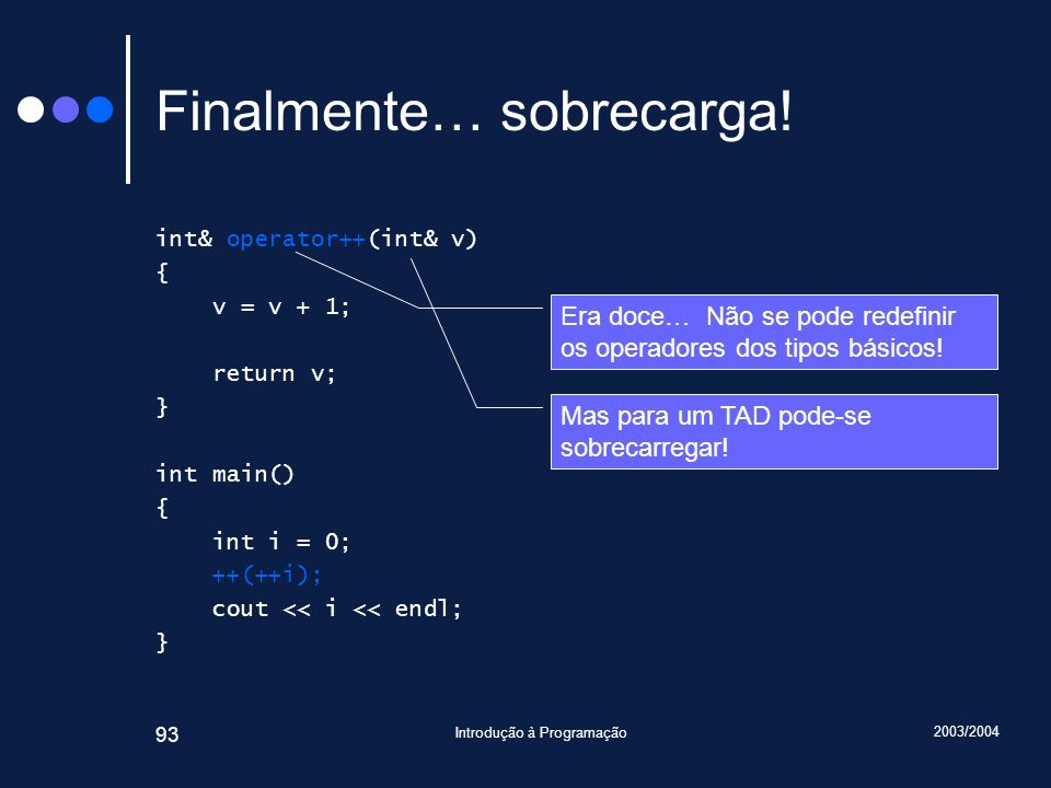 2003/2004 Introdução à Programação 93 Finalmente… sobrecarga.
