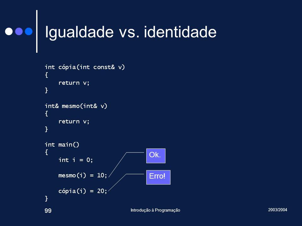 2003/2004 Introdução à Programação 99 Igualdade vs.