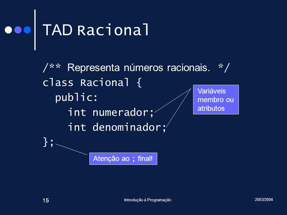 2003/2004 Introdução à Programação 15 TAD Racional /** Representa números racionais.