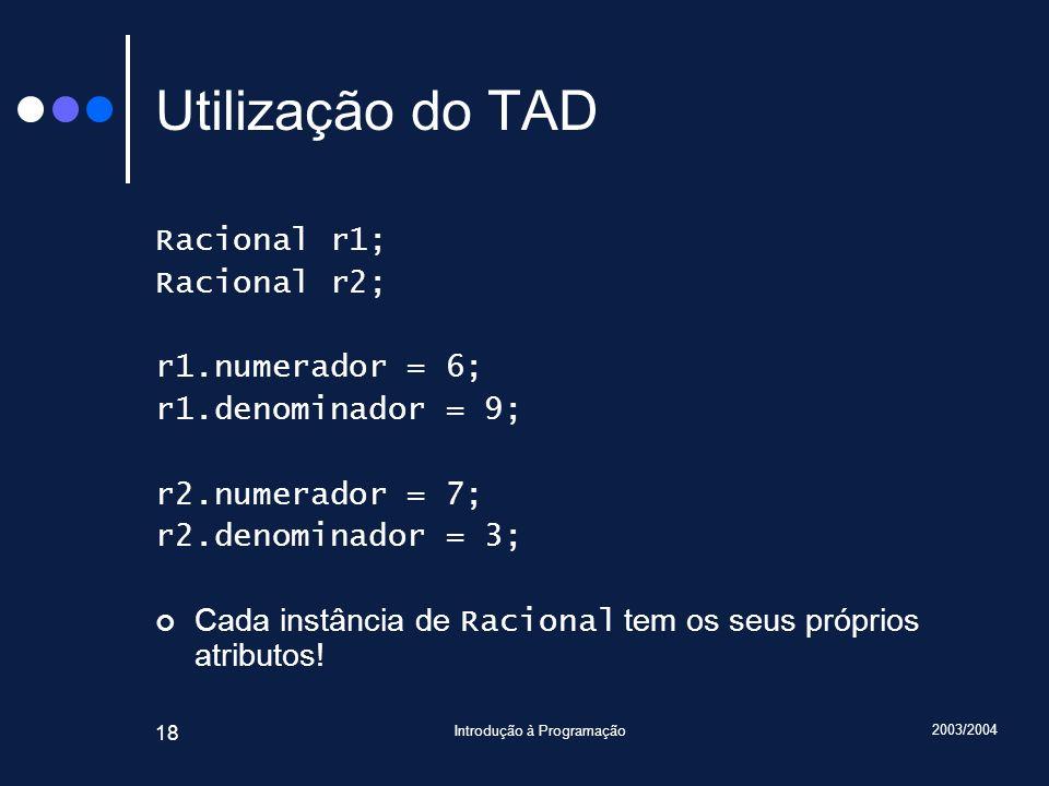 2003/2004 Introdução à Programação 18 Utilização do TAD Racional r1; Racional r2; r1.numerador = 6; r1.denominador = 9; r2.numerador = 7; r2.denominador = 3; Cada instância de Racional tem os seus próprios atributos!