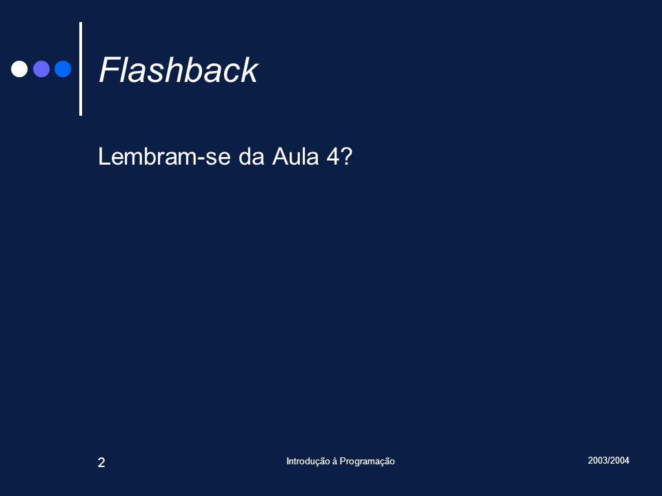 2003/2004 Introdução à Programação 2 Flashback Lembram-se da Aula 4