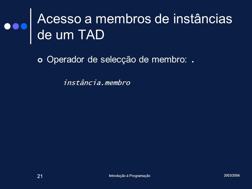 2003/2004 Introdução à Programação 21 Acesso a membros de instâncias de um TAD Operador de selecção de membro:.
