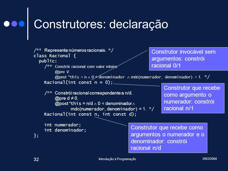 2003/2004 Introdução à Programação 32 Construtores: declaração /** Representa números racionais.