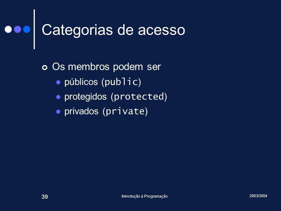 2003/2004 Introdução à Programação 39 Categorias de acesso Os membros podem ser públicos ( public ) protegidos ( protected ) privados ( private )
