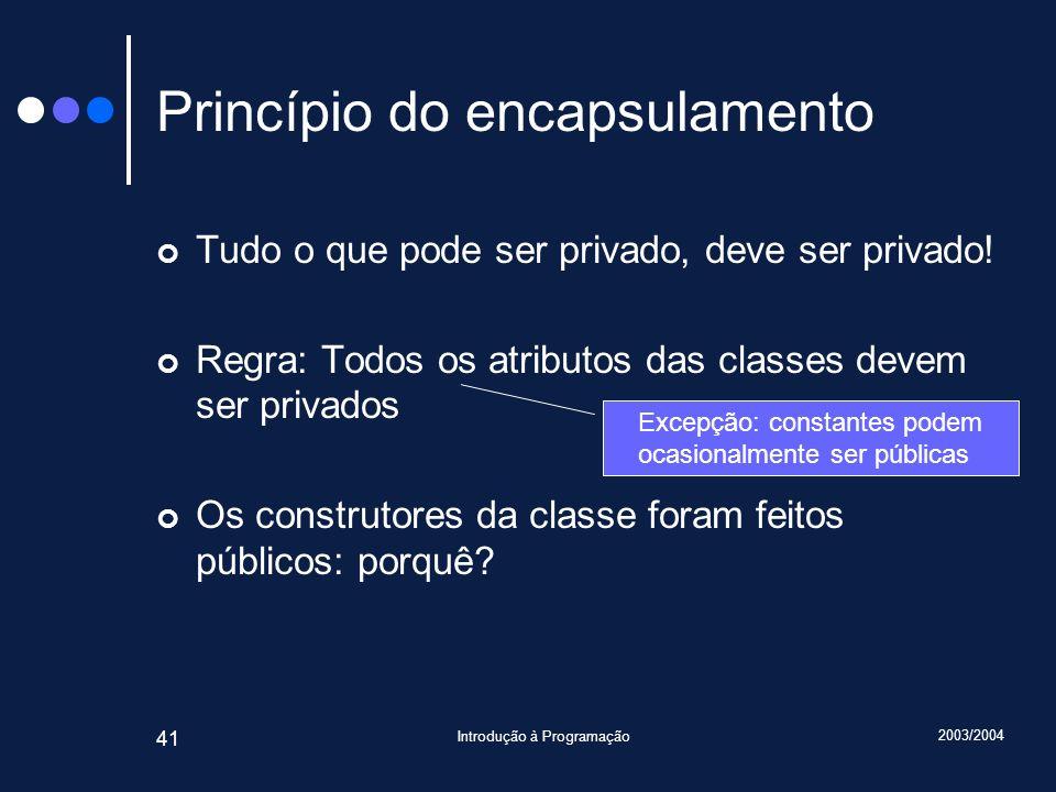 2003/2004 Introdução à Programação 41 Princípio do encapsulamento Tudo o que pode ser privado, deve ser privado.