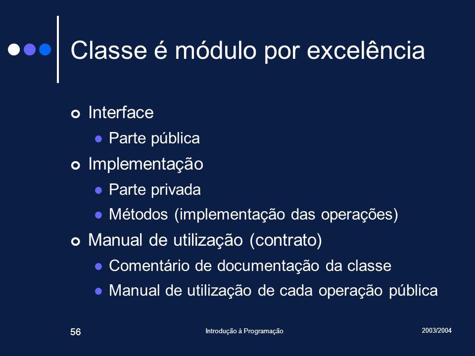 2003/2004 Introdução à Programação 56 Classe é módulo por excelência Interface Parte pública Implementação Parte privada Métodos (implementação das operações) Manual de utilização (contrato) Comentário de documentação da classe Manual de utilização de cada operação pública