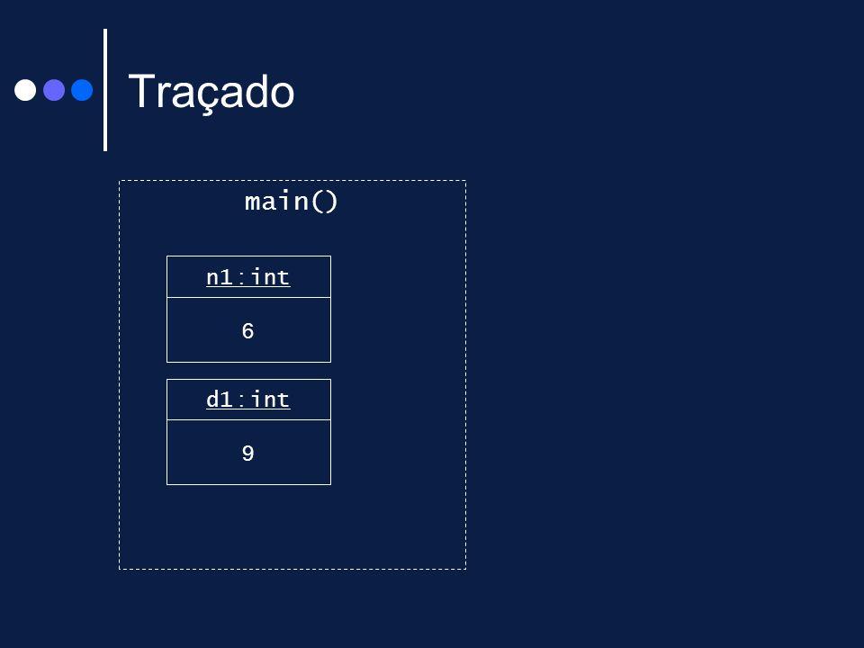 Traçado main() n1 : int 6 d1 : int 9