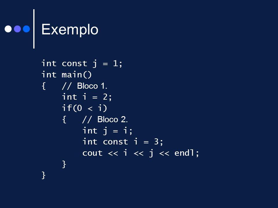 Exemplo int const j = 1; int main() { // Bloco 1. int i = 2; if(0 < i) { // Bloco 2. int j = i; int const i = 3; cout << i << j << endl; }
