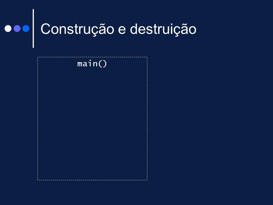 Construção e destruição main() n1 : int 6 d1 : int 9 k : int 3