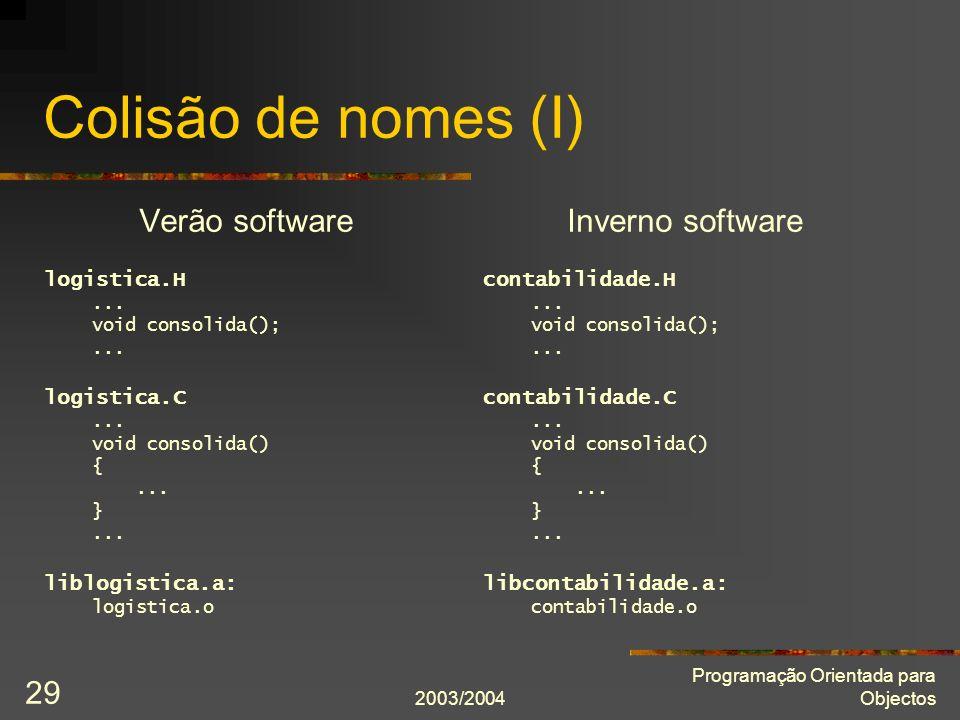 2003/2004 Programação Orientada para Objectos 29 Colisão de nomes (I) Verão software logistica.H... void consolida();... logistica.C... void consolida