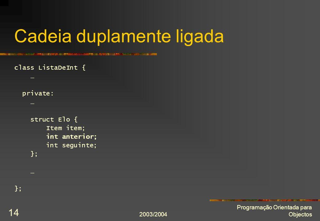 2003/2004 Programação Orientada para Objectos 14 Cadeia duplamente ligada class ListaDeInt { … private: … struct Elo { Item item; int anterior; int seguinte; }; … };