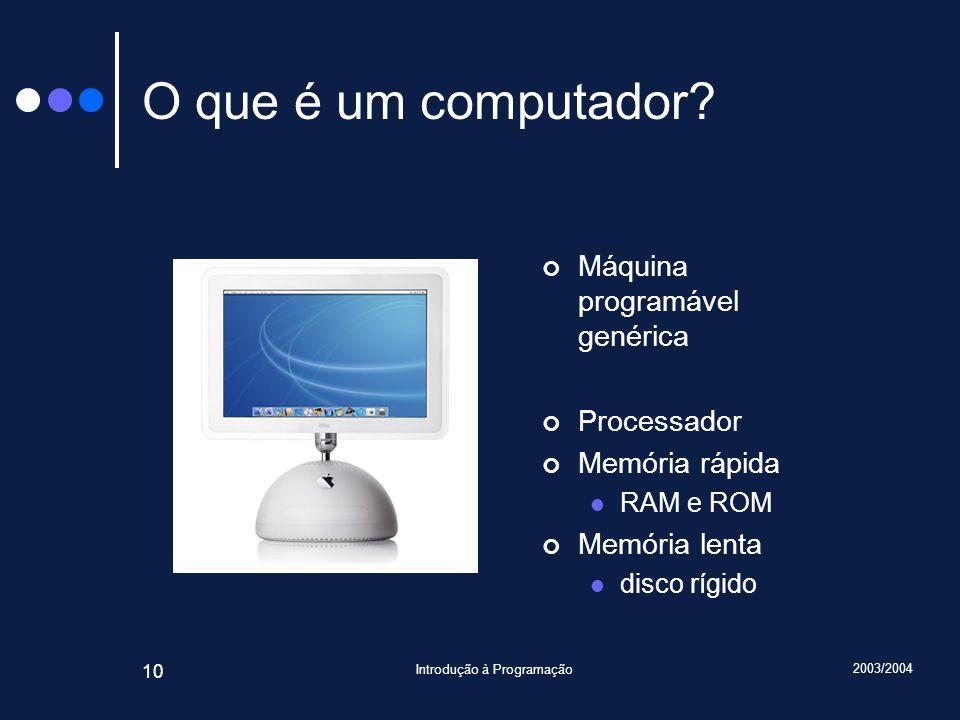2003/2004 Introdução à Programação 10 O que é um computador.