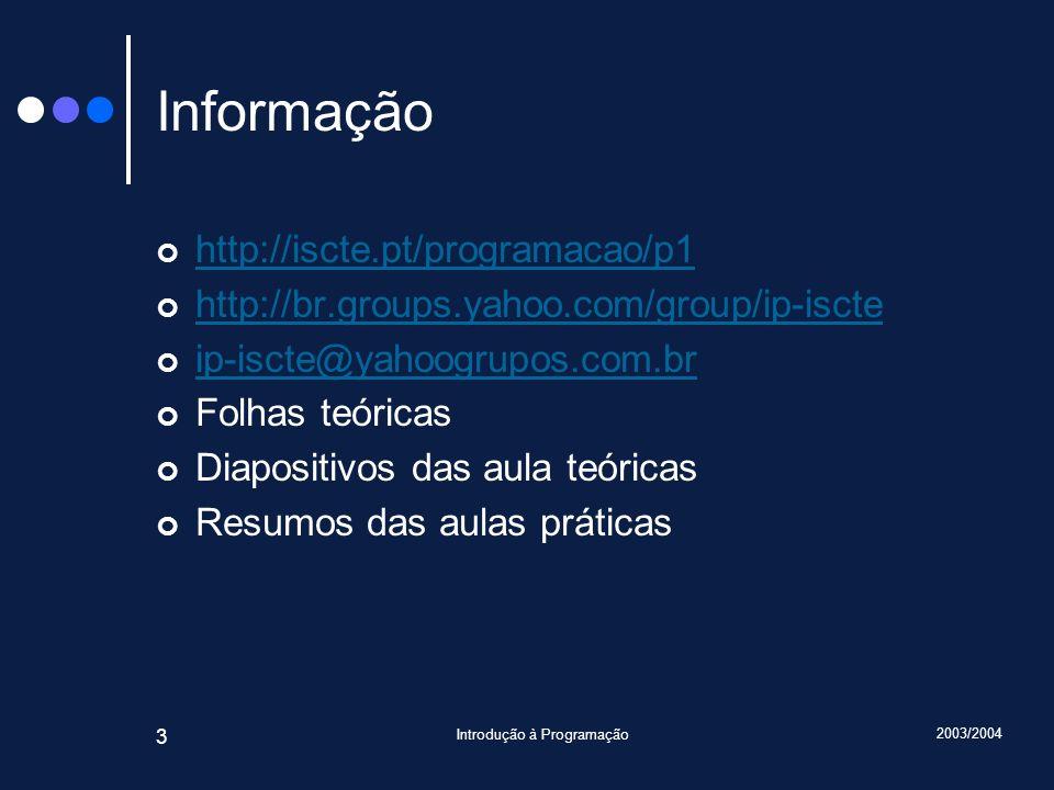 2003/2004 Introdução à Programação 14 Variáveis m : inteiro 12 Nome Tipo Valor