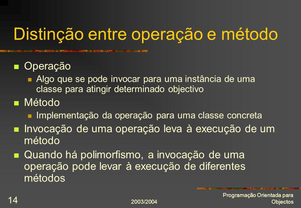 2003/2004 Programação Orientada para Objectos 14 Distinção entre operação e método Operação Algo que se pode invocar para uma instância de uma classe