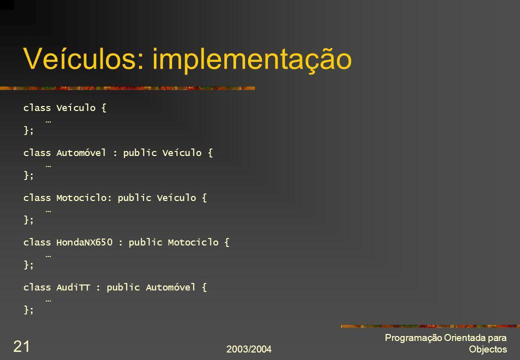 2003/2004 Programação Orientada para Objectos 21 Veículos: implementação class Veículo { … }; class Automóvel : public Veículo { … }; class Motociclo: