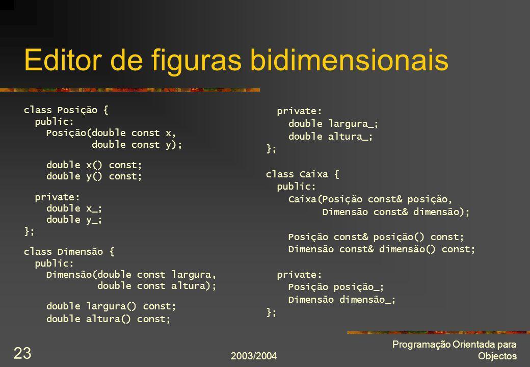 2003/2004 Programação Orientada para Objectos 23 Editor de figuras bidimensionais class Posição { public: Posição(double const x, double const y); dou