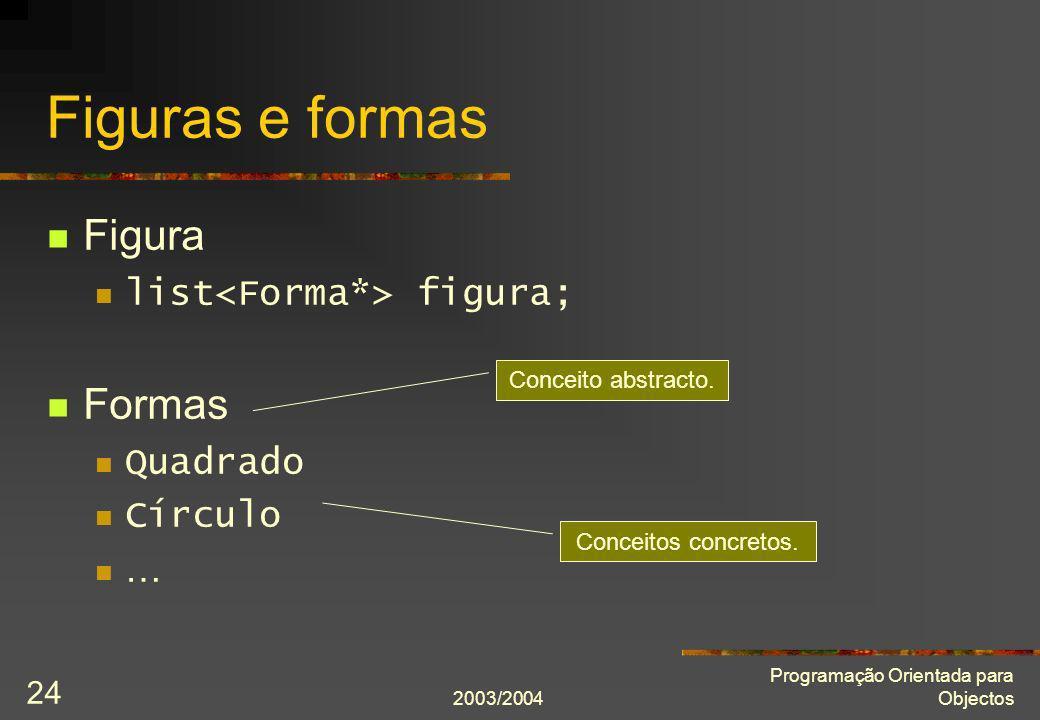 2003/2004 Programação Orientada para Objectos 24 Figuras e formas Figura list figura; Formas Quadrado Círculo … Conceitos concretos. Conceito abstract
