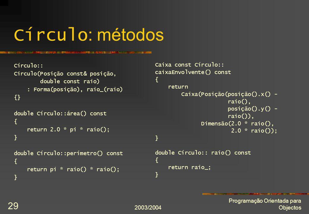2003/2004 Programação Orientada para Objectos 29 Círculo : métodos Círculo:: Circulo(Posição const& posição, double const raio) : Forma(posição), raio