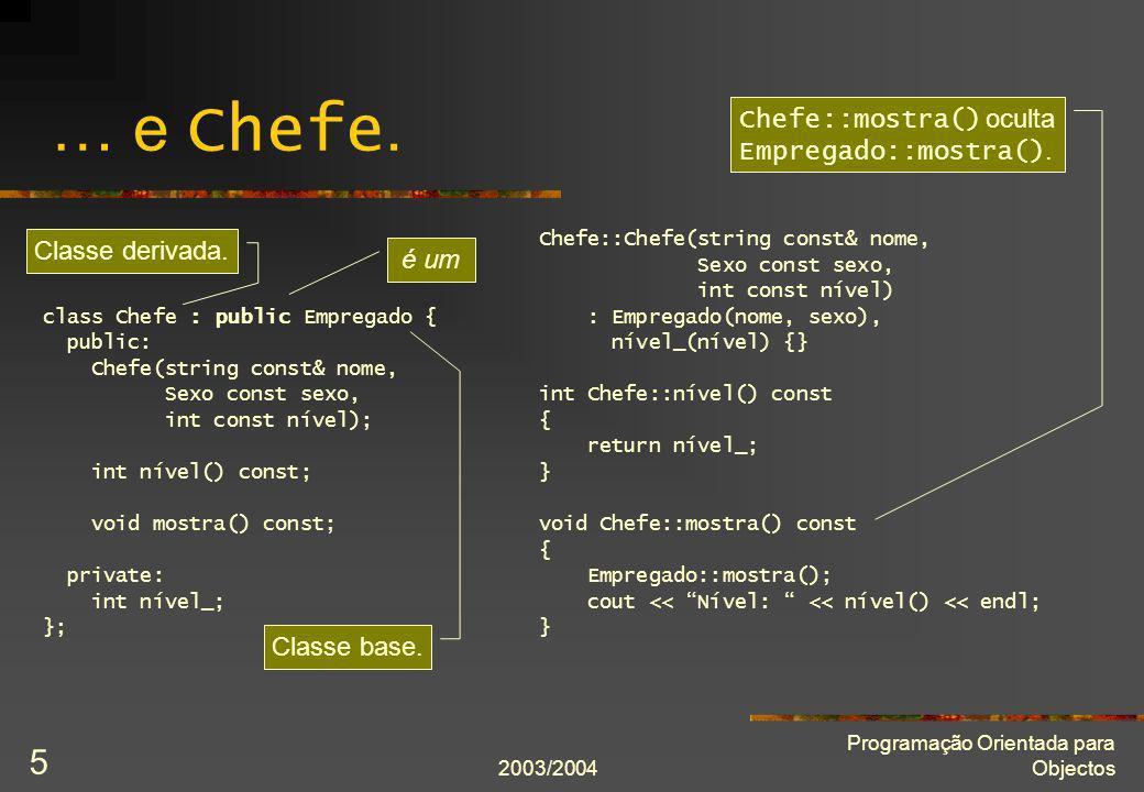 2003/2004 Programação Orientada para Objectos 5 … e Chefe. class Chefe : public Empregado { public: Chefe(string const& nome, Sexo const sexo, int con