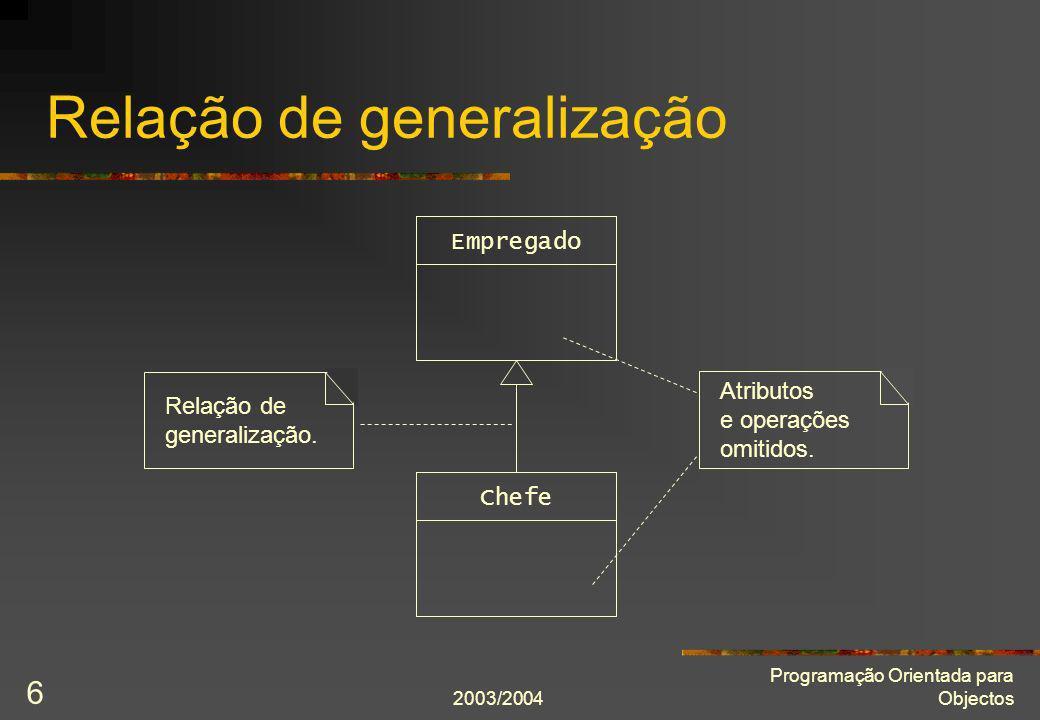 2003/2004 Programação Orientada para Objectos 17 Chefe com subordinados class Chefe : public Empregado { public: Chefe(string const& nome, Sexo const sexo, int const nível); int nível() const; virtual void mostra() const; void subordina(Empregado* const subordinado); private: int nível_; list subordinados; }; void Chefe::subordina(Empregado* const subordinado) { subordinados.push_back(subordinado); }
