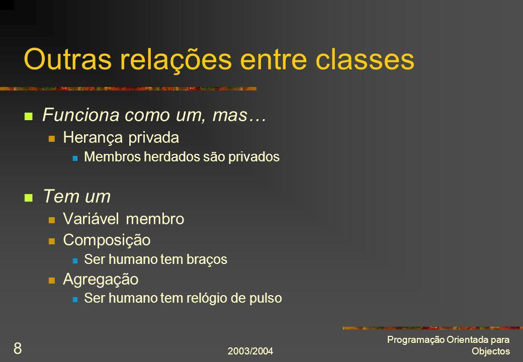 2003/2004 Programação Orientada para Objectos 19 Destrutor virtual class Empregado { public: Empregado(string const& nome, Sexo const sexo); virtual ~Empregado() {} string const& nome() const; Sexo sexo() const; virtual void mostra() const; private: string nome_; Sexo sexo_; }; Regra: se uma classe é base de uma hierarquia de classes polimórficas, tem de definir um destrutor virtual.