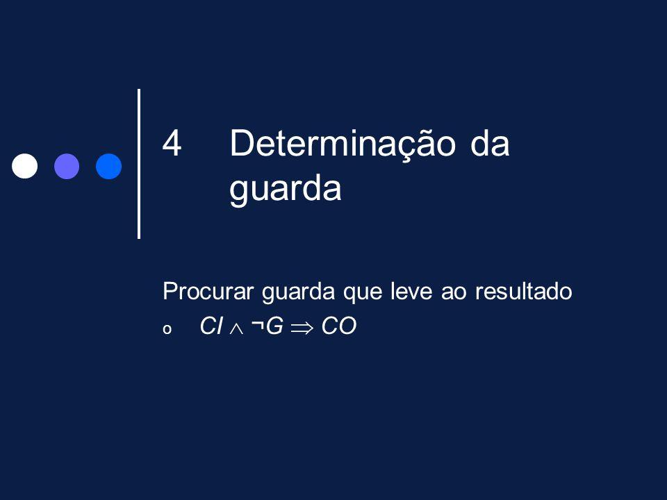 4Determinação da guarda Procurar guarda que leve ao resultado o CI ¬G CO