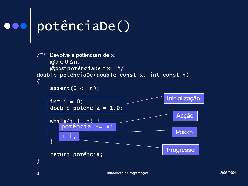 2003/2004 Introdução à Programação 3 potênciaDe() /** Devolve a potência n de x. @pre 0 n. @post potênciaDe = x n. */ double potênciaDe(double const x