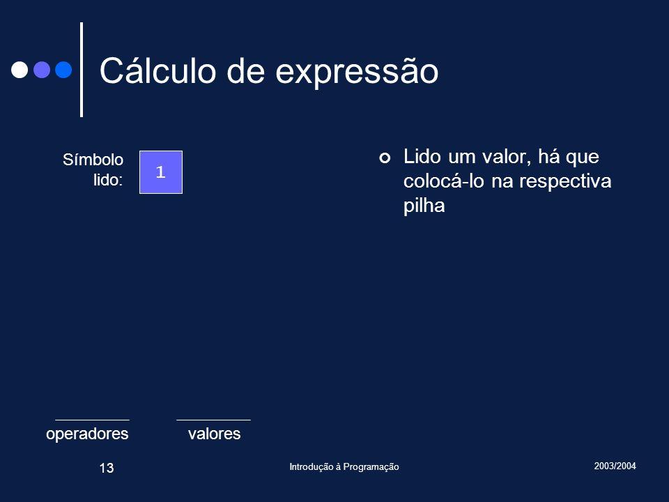 2003/2004 Introdução à Programação 13 valoresoperadores Cálculo de expressão Lido um valor, há que colocá-lo na respectiva pilha Símbolo lido: 1