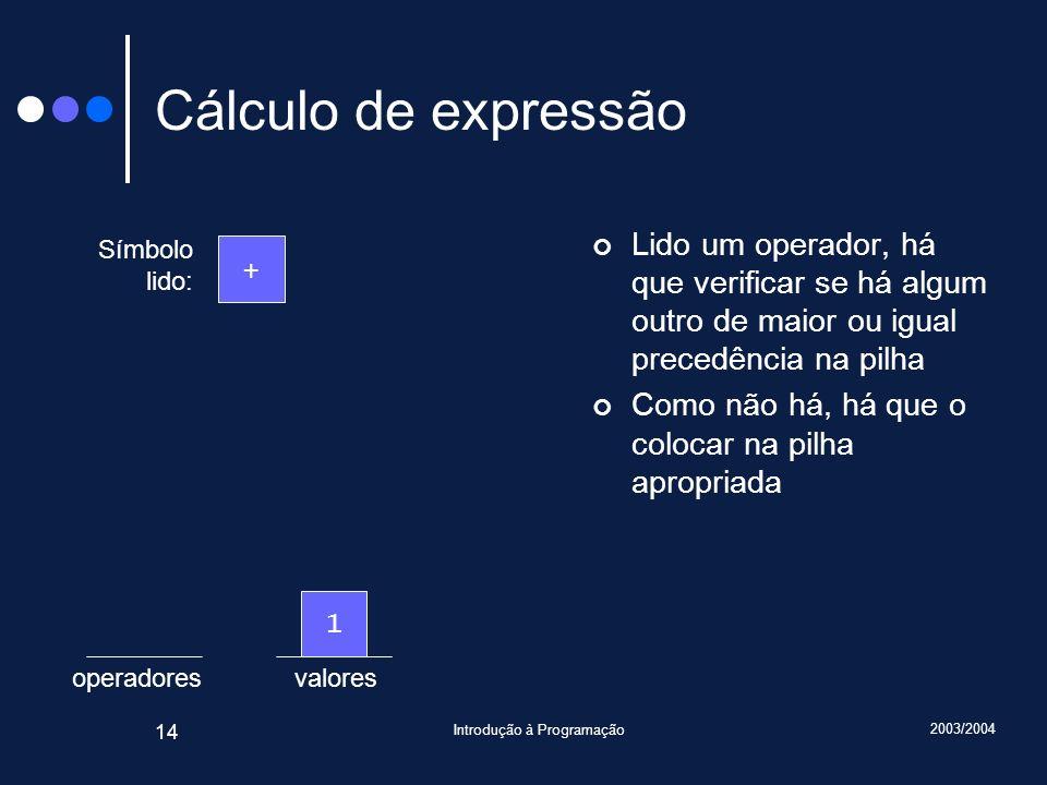2003/2004 Introdução à Programação 14 valoresoperadores Cálculo de expressão Lido um operador, há que verificar se há algum outro de maior ou igual pr