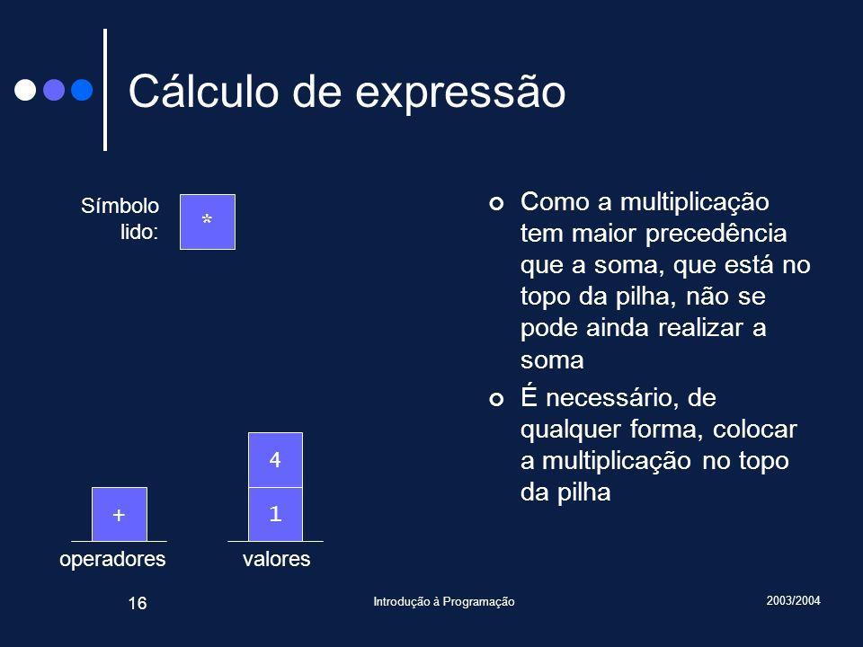 2003/2004 Introdução à Programação 16 valoresoperadores Cálculo de expressão Como a multiplicação tem maior precedência que a soma, que está no topo d