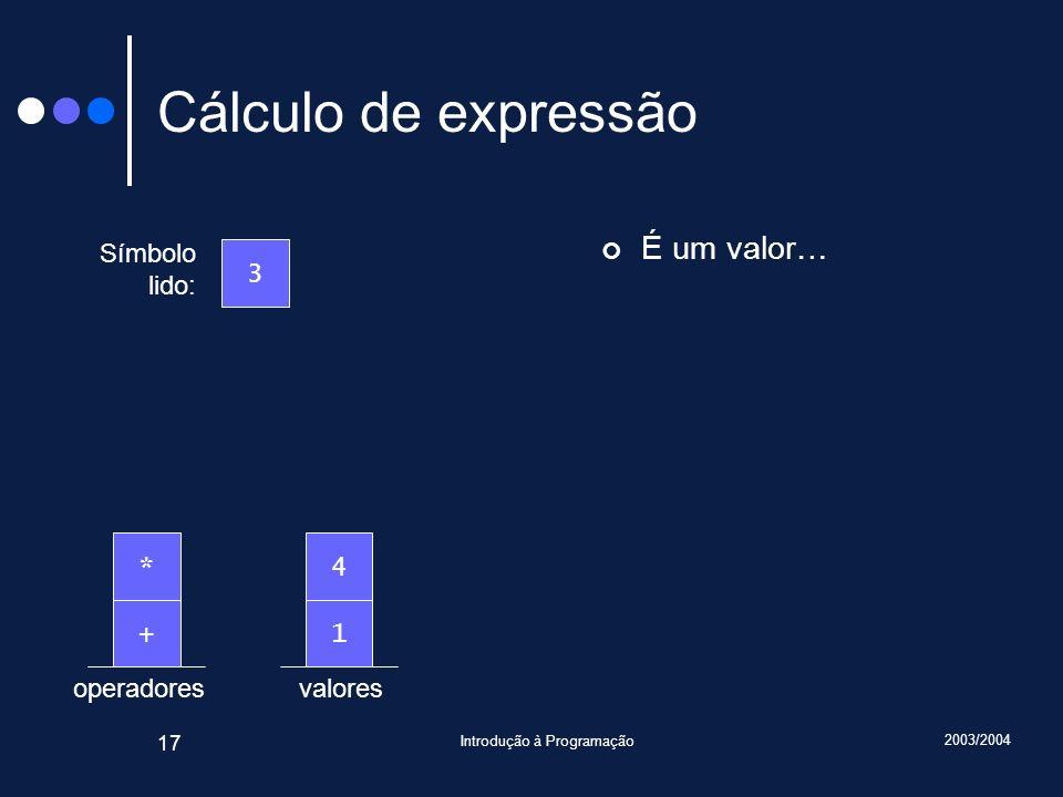 2003/2004 Introdução à Programação 17 valoresoperadores Cálculo de expressão É um valor… Símbolo lido: 3 1+ 4*