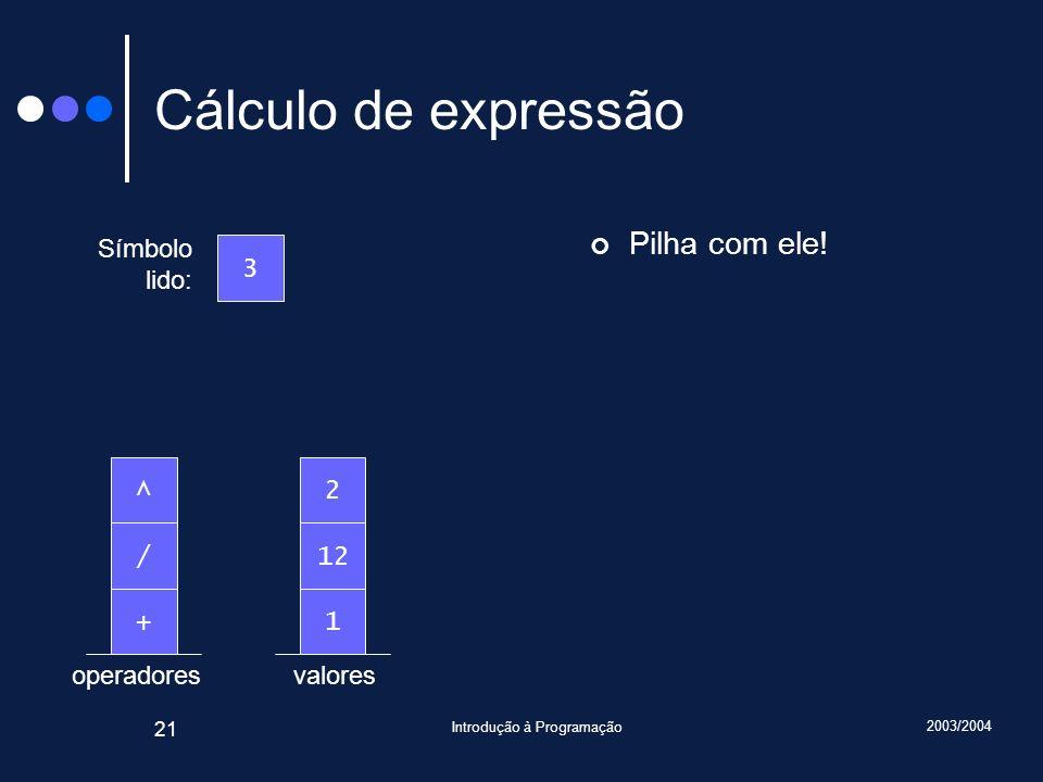 2003/2004 Introdução à Programação 21 valoresoperadores Cálculo de expressão Pilha com ele! Símbolo lido: 3 1+ 12/ 2^