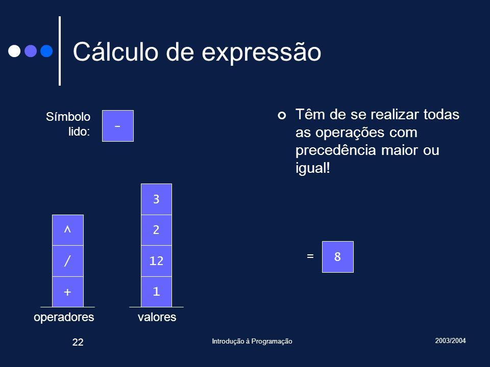 2003/2004 Introdução à Programação 22 valoresoperadores Cálculo de expressão Têm de se realizar todas as operações com precedência maior ou igual! Sím