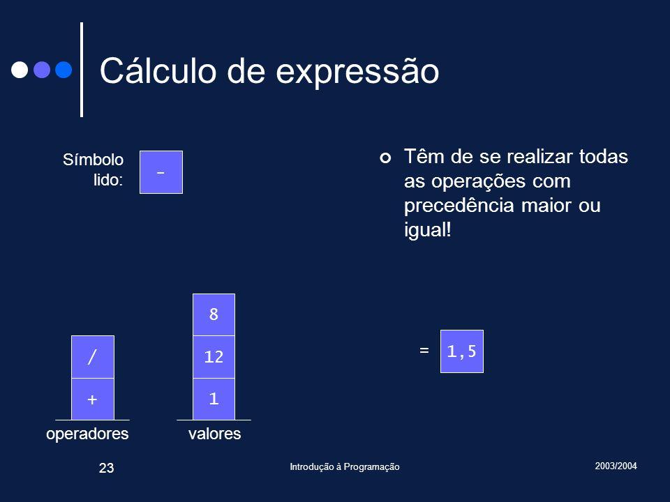 2003/2004 Introdução à Programação 23 valoresoperadores Cálculo de expressão Têm de se realizar todas as operações com precedência maior ou igual! Sím