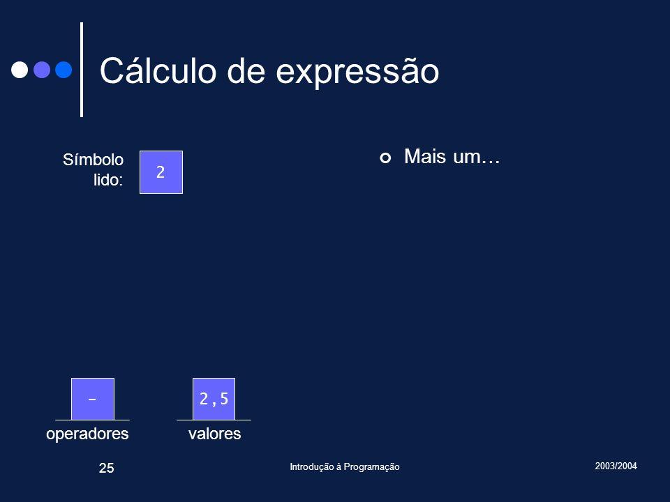 2003/2004 Introdução à Programação 25 valoresoperadores Cálculo de expressão Mais um… Símbolo lido: 2 2,5-