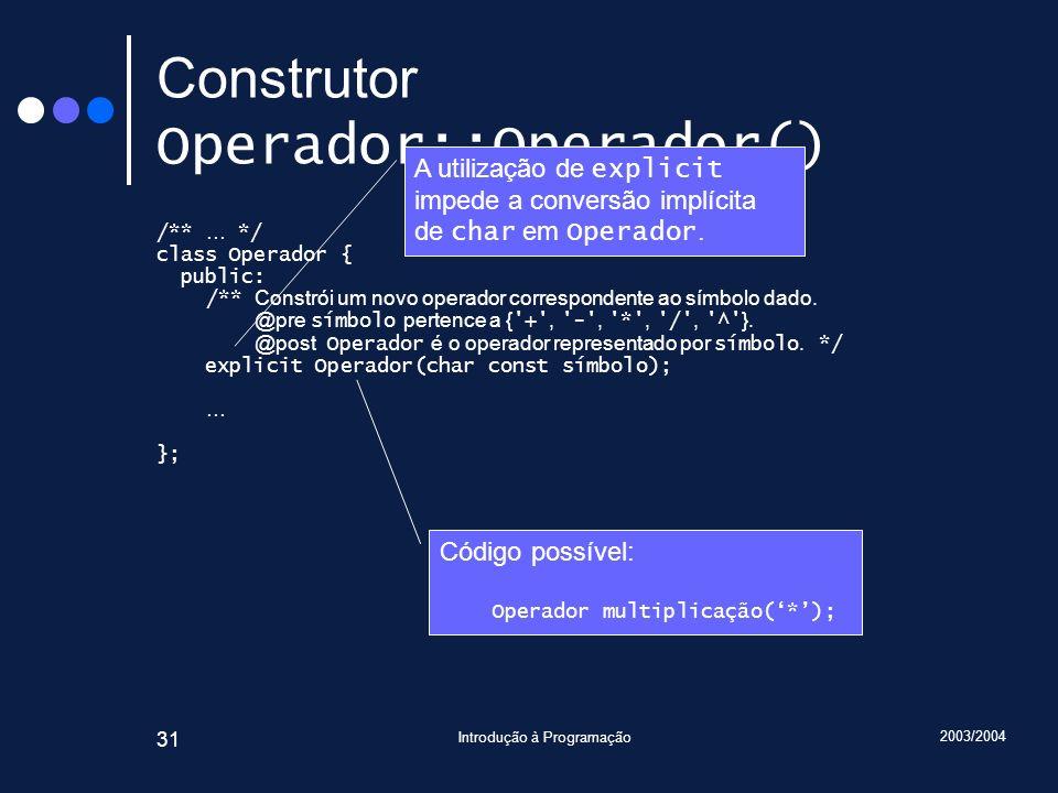 2003/2004 Introdução à Programação 31 Construtor Operador::Operador() /** … */ class Operador { public: /** Constrói um novo operador correspondente a