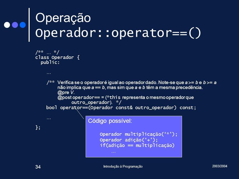 2003/2004 Introdução à Programação 34 Operação Operador::operator==() /** … */ class Operador { public: … /** Verifica se o operador é igual ao operad