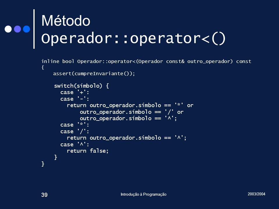 2003/2004 Introdução à Programação 39 Método Operador::operator<() inline bool Operador::operator<(Operador const& outro_operador) const { assert(cump