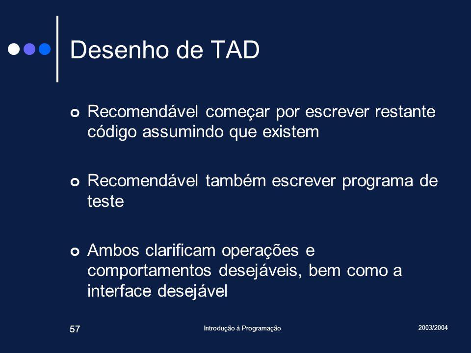 2003/2004 Introdução à Programação 57 Desenho de TAD Recomendável começar por escrever restante código assumindo que existem Recomendável também escre