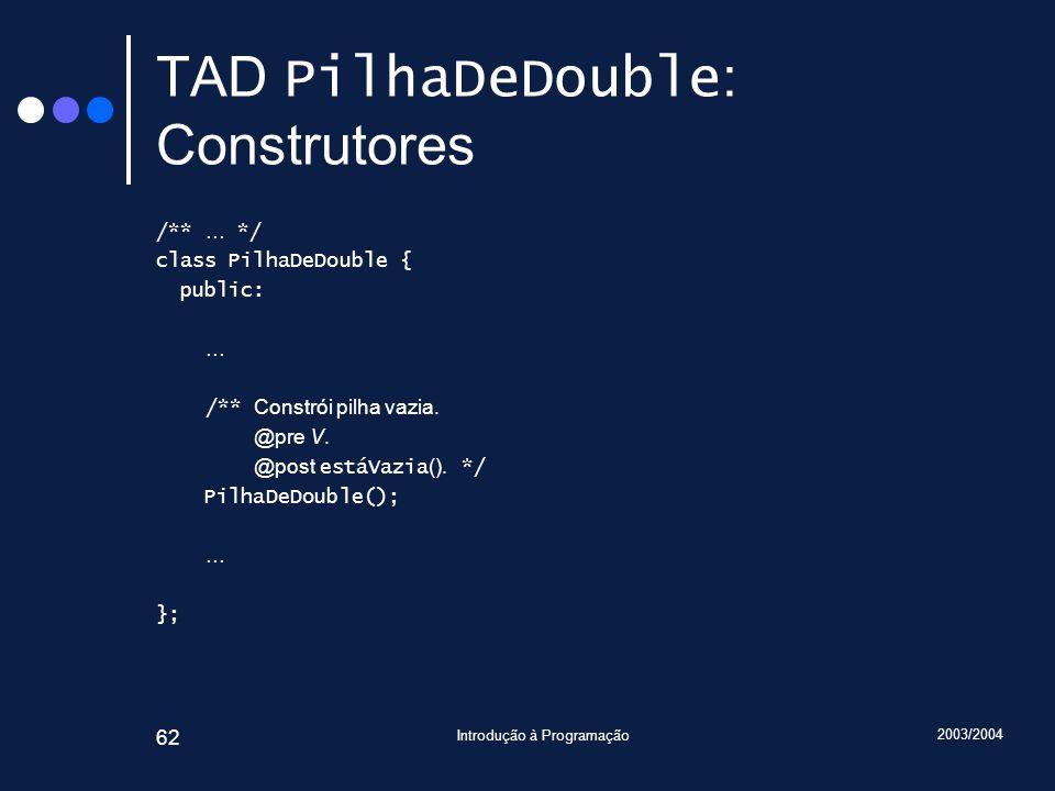 2003/2004 Introdução à Programação 62 TAD PilhaDeDouble : Construtores /** … */ class PilhaDeDouble { public: … /** Constrói pilha vazia. @pre V. @pos