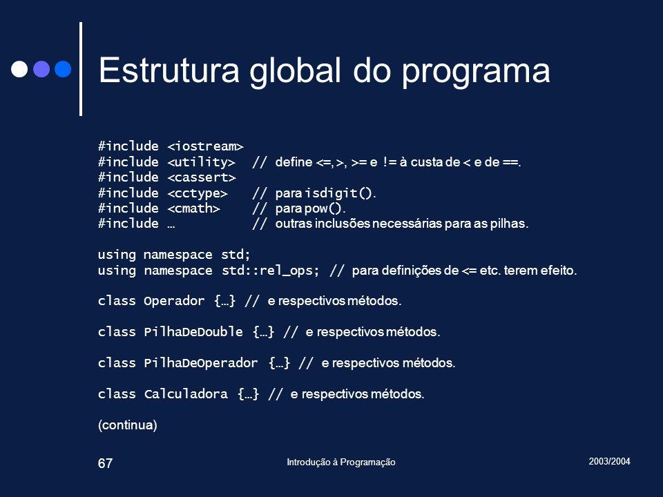 2003/2004 Introdução à Programação 67 Estrutura global do programa #include #include // define, >= e != à custa de < e de ==. #include #include // par