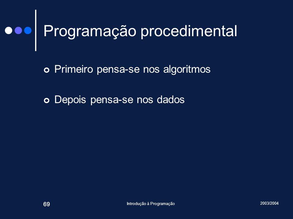 2003/2004 Introdução à Programação 69 Programação procedimental Primeiro pensa-se nos algoritmos Depois pensa-se nos dados