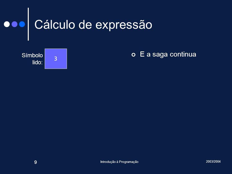 2003/2004 Introdução à Programação 9 Cálculo de expressão E a saga continua Símbolo lido: 3