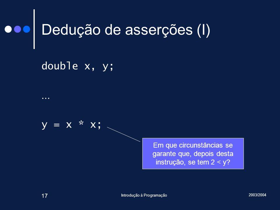 2003/2004 Introdução à Programação 17 Dedução de asserções (I) double x, y;...