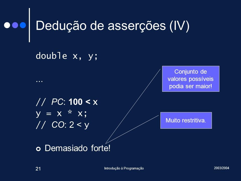 2003/2004 Introdução à Programação 21 Dedução de asserções (IV) double x, y;...