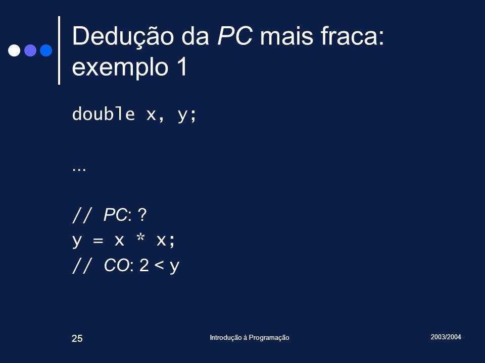 2003/2004 Introdução à Programação 25 Dedução da PC mais fraca: exemplo 1 double x, y;...