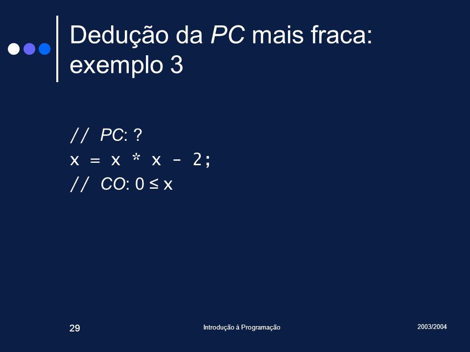 2003/2004 Introdução à Programação 29 Dedução da PC mais fraca: exemplo 3 // PC: .